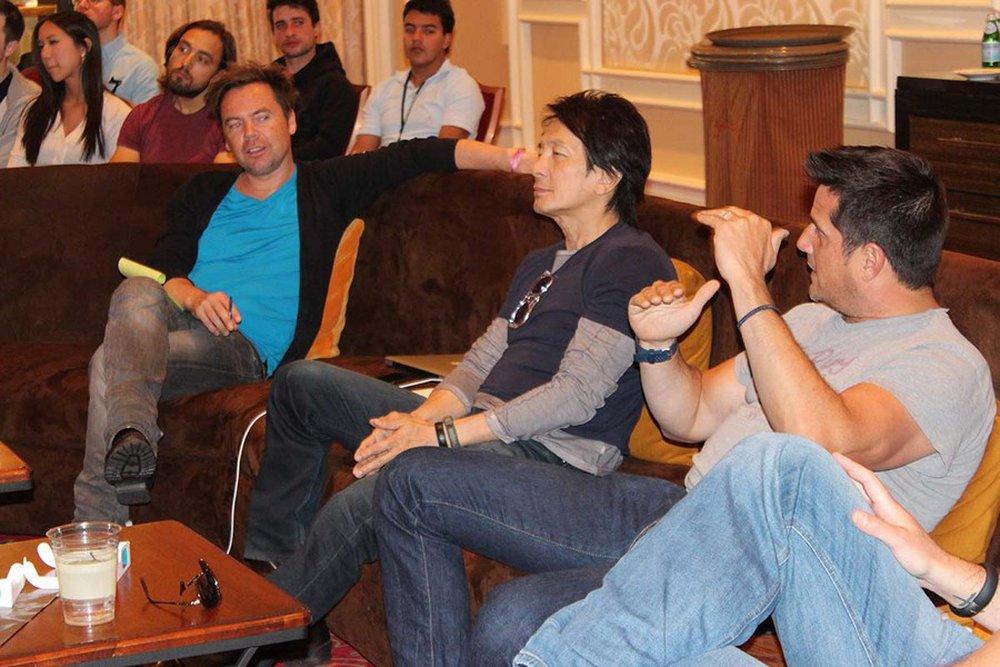 Geoffrey Hantson, Tham Khai Meng, and Peter Nicholson in the judging room