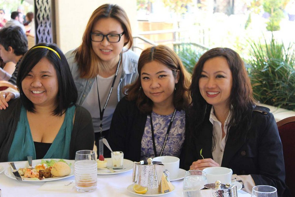Mei Mei Ng and Piyakan Sirichankachorn having a great time with juror Jureeporn Thaidumrong during lunch on the patio
