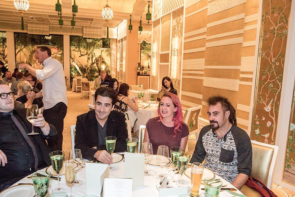 Cyrus Vantoch-Wood, Tom Gilmartin, Rosie and Faris Yakob enjoy dinner at Wing Lei