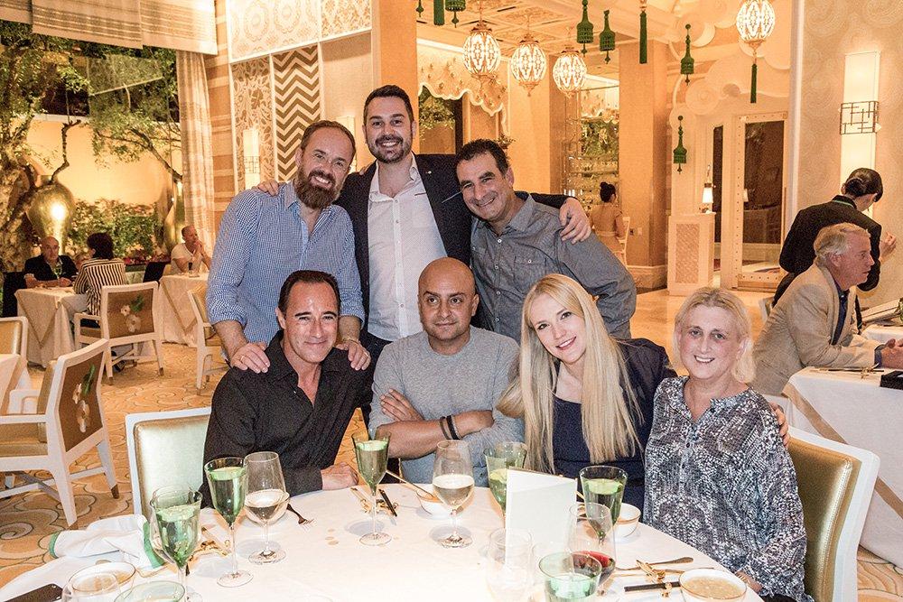 Richard de Aragues, Alexander Schill, Adrian Bosich, Amir Kassaei, Wayne Youkhana and Barbara Levy enjoying dinner at Wing Lei