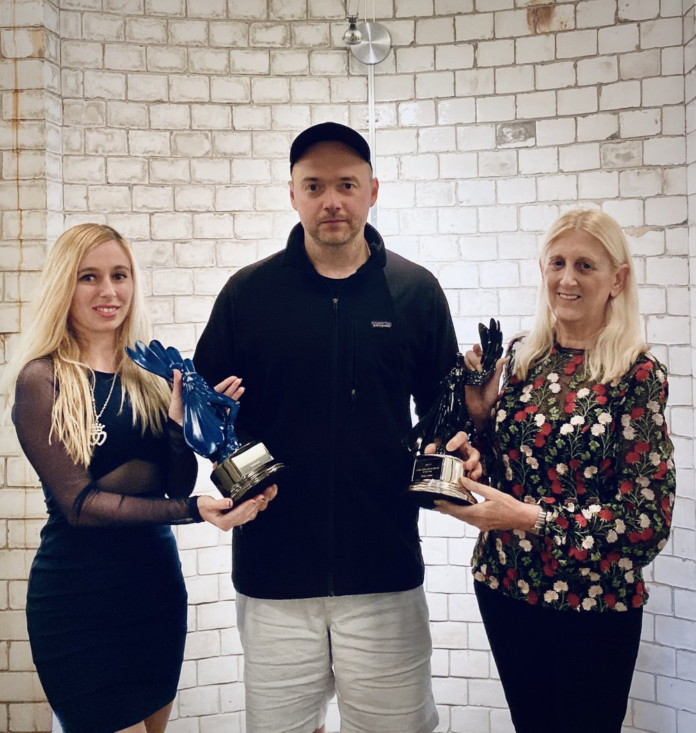 Barbara Levy and Laurissa Levy present the Regional Music & Sound Company Of The Year to Sam Ashwell at 750mph, London